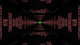 Music Waves Tunnel, with Green Screen, Lights Bulbs Animation, Rendering, Background, Loop, 4k