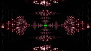 Music Waves TUNNEL with Green Screen, Radio, Lights Bulbs Animation, Rendering, Background, Loop, 4k