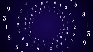 NUMBERS Rings Animation, Background, Rendering, Loop, with Alpha Channel, 4k