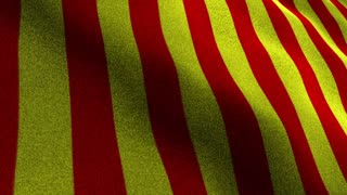 Red and Yellow Textile Flag Animation, Rendering, Background, Loop, 4k