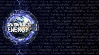 RENEWABLE ENERGY Text Animation and Earth, Rendering, Background, Loop, 4k
