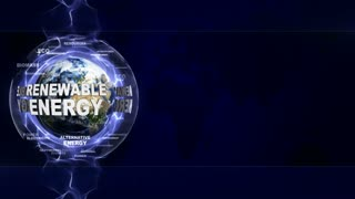 RENEWABLE ENERGY Text Animation Around Earth, Rendering, Background, Loop, 4k