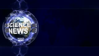 SCIENCE NEWS Text Animation and Earth, Rendering, Background, Loop, 4k