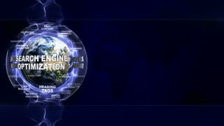 SEARCH ENGINE OPTIMIZATION, SEO, Text Animation and Earth, Rendering, Background, Loop, 4k