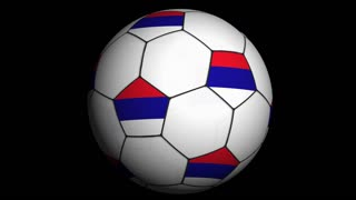 Soccer Ball and WOLRD Flag in Blue Abstract Particles Ring, Animation, Background, Loop, with Alpha Channel, 4k