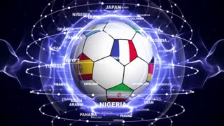 Soccer Ball and World Flag in Blue Abstract Particles Ring, Animation, Background, Loop, 4k