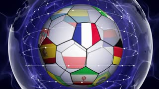 Soccer Ball and World Flag in Blue Abstract Particles Ring, ZOOM IN \ ZOOM OUT