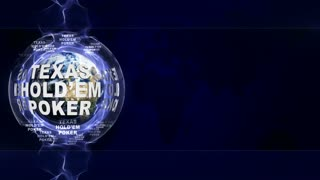 Texas Hold'em Poker Text Animation and Earth, Rendering, Background, Loop, 4k