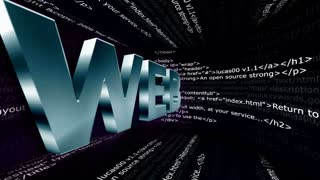 WEB Text Animation and Html Code Room, Rendering, Background, Loop, 4k