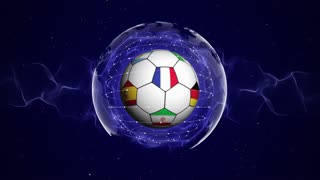 World Cup, Soccer Ball and World Flags in Blue Abstract Particles Ring, Animation, Background, Loop, 4k