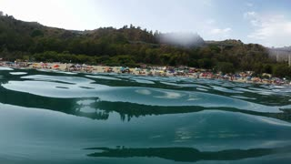 Water Surface, Beach and People, South Italy, Real Time, 4k