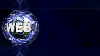 WEB Text Animation and Earth, with Keywords, Rendering, Background, Loop, 4k