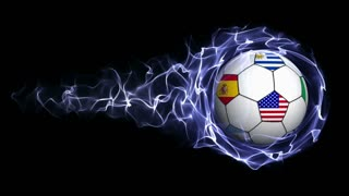 World Flag Soccer Ball in Blue Abstract Particles Ring, Loop, 4k
