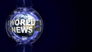 WORLD NEWS Text Animation and Earth, Background, Loop, 4k