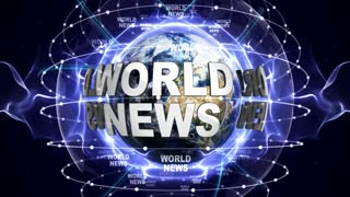 WORLD NEWS Text Animation and Earth, Loop, 4k