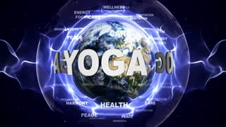 YOGA Text Animation and Earth, with Keywords, Loop, 4k