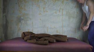 A homeless man found a place to sleep.