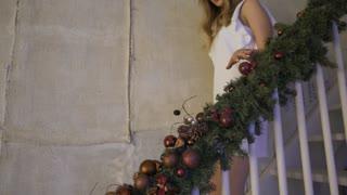 Christmas: Girl Comes Down Stairs On Christmas Morning