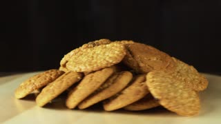 cookies falling on the table. slow motion.