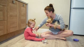Cute little girl and funny dog at home. Mom and daughter are feeding a small dog