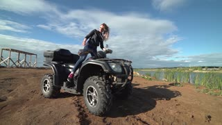 Driving on a rural farm dirt road POV. Summer recreation and sport riding an all terrain vehicle on farm or ranch dirt road. Sport Utility Vehicle side by side UTV. Four wheel drive fun excitement.