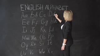 Education concept - ABC alphabet school blackboard concept. School teacher writing ABC alphabet in English class or preschool. on chalkboard.