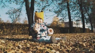 Little cute girl playing with leaves in autumn park.