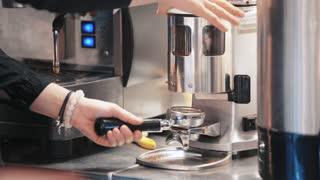 Making coffee in the coffee machine