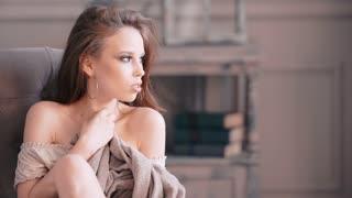portrait of romantic beautiful young woman green eyes sensual girl with big lips in shirt having fun touching herself & looking at camera
