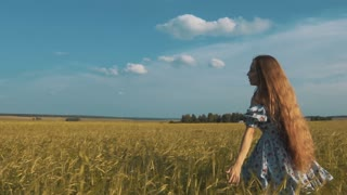Pretty girl running through yellow wheat field. Happy beautiful young woman outdoors enjoying nature. Free, Freedom concept. Golden Wheat.