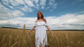 red-haired girl in a field of wheat in a white dress smiles a lovely smile , a perfect picture for advertising in the style lifestyle
