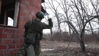 Soldier Throws Hand Grenade