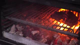 Tasty grilled steak in oven