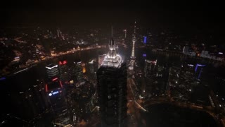 AERIAL View of The Bund at night / Shanghai, China
