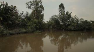 BOAT POV WS Mekong River / Vietnam