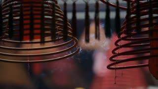 CU Burning incense coils at Man Mo Temple / Hong Kong