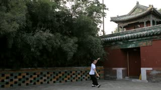 CU Low section of man doing Tai Chi in park/ Beijing, China