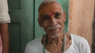 CU Portrait of senior man / Varanasi, India