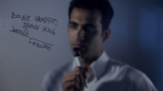 CU R/F Businessman writing on glass wall and thinking