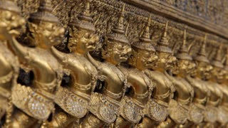 CU Row of gold statues / Grand Palace, Bangkok, Thailand