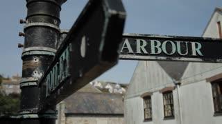CU ZI Harbour Street Sign / Cornwall, England, UK