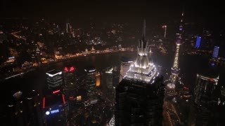 HA WS PAN View of The Bund at night / Shanghai, China