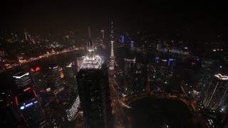 HA WS View of The Bund at night / Shanghai, China