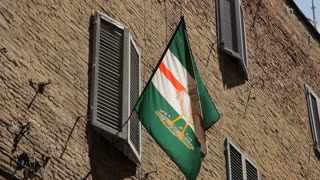 MH LA LD Flag Hanging from Building / Tuscany, Italy