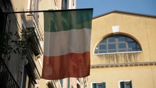 MH LA LD Italian Flag Hanging from Building / Venice, Italy