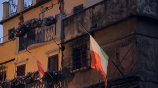 MH LA LD Italian Flag Hanging Outside Building / Florence, Italy