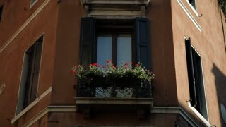 MH LA LD Potted Flowers in Windowsill / Venice, Italy