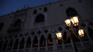 MH LA PAN Historic Buildings with Illuminated Street Lamps at Night / Venice, Italy