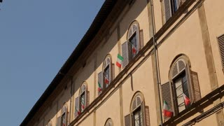 MH LA TD Building with Italian Flags / Tuscany, Italy