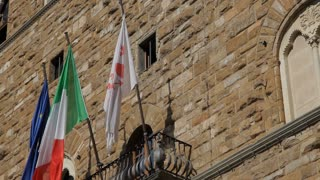 MH LA TD Italian Flags and Statue of Michelangelo's David / Florence, Italy